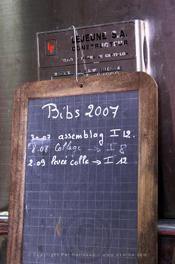 Chalk board on a fermentation tank Bib 2007 Bag in Box assemblage, Chateau Lestrille, Bordeaux sign on tank chateau lestrille bordeaux france