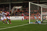 Jamie Langfield ends up in the net after Sam Parkin scores in the Aberdeen v St Mirren Scottish Communities League Cup match played at Pittodrie Stadium, Aberdeen on 30.10.12.