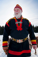 "Solberget, Jokkmokk, Swedish Lapland, Sweden, March 2013. Lars Erikson is a traditional Sami, one of the few who still speak the Sami language and who has intricate knowledge of the Tundra and reindeer grazing grounds. Dirk and Silke Hagenbusch live their lives in a wilderness retreat  called 'Solberget'. It is situated directly on the Arctic Circle, near the nature reserves ""Granlandet"", ""Päivavuoma"" and ""Pellokiellas"", and close to the ""Muddus"" National Park. Here, nature can be experienced in its purest form – far away from civilisation. As an authentic wilderness farm, Solberget is neither connected to public electricity nor to the mains water supply. Water comes from a spring in the woods and is delicious! Oil lamps and the natural warmth of wood burning stoves provides a soft and cosy atmosphere, even with biting frost outside. Photo by Frits Meyst/Adventure4ever.com"