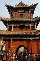 A traditional Chinese tower in Linfen city, Shanxi province, China..