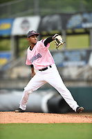 Hickory Crawdads relief pitcher Abdiel Mendoza (21) pitches to a batter during the game with the Charleston Riverdogs at L.P. Frans Stadium on May 12, 2019 in Hickory, North Carolina.  The Riverdogs defeated the Crawdads 13-5. (Tracy Proffitt/Four Seam Images)
