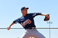 Atlanta Braves pitcher Andrew Waszak (18) warms up before a minor league spring training game against the Houston Astros on March 29, 2015 at the Osceola County Stadium Complex in Kissimmee, Florida.  (Mike Janes/Four Seam Images)