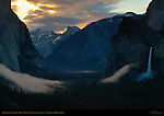Yosemite Valley Dawn Mist in Spring, Bridalveil Fall and Cathedral Rocks, Half Dome, Clouds Rest, Discovery View, Tunnel View, Yosemite National Park