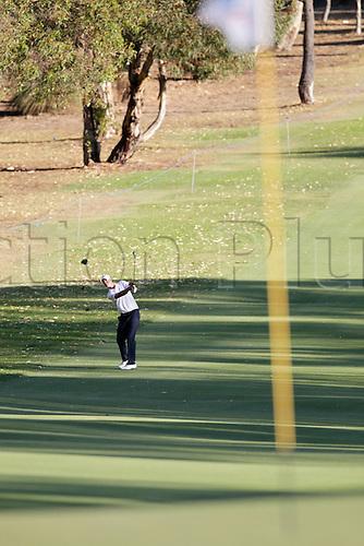 26.02.2016. Perth, Australia. ISPS HANDA Perth International Golf. Nicolas Colsaerts (BEL) plays an approach shot on the 10th hole during day 2.