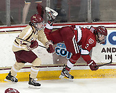 Melissa Bizzari (BC - 4), Sarah Edney (Harvard - 3) - The Boston College Eagles defeated the visiting Harvard University Crimson 3-1 in their NCAA quarterfinal matchup on Saturday, March 16, 2013, at Kelley Rink in Conte Forum in Chestnut Hill, Massachusetts.