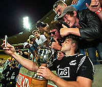 Tim Mikkelson with fans after the New Zealand All Blacks Sevens cup final victory on Day Two during the 2016 HSBC Wellington Sevens at Westpac Stadium, Wellington, New Zealand on Sunday, 31 January 2016. Photo: Joseph Johnson / lintottphoto.co.nz