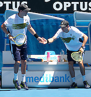 MIKE BRYAN (USA) & BOB BRYAN (USA) against ROBERT LINDSTEDT (SWE) & HORIA TECAU (ROM) in the Semi-Finals of the Men's Doubles. Bryan & Bryan beat Lindstedt & Tecau 6-4 6-3 7-6..26/01/2012, 26th January 2012, 26.01.2012 - Day 10..The Australian Open, Melbourne Park, Melbourne,Victoria, Australia.@AMN IMAGES, Frey, Advantage Media Network, 30, Cleveland Street, London, W1T 4JD .Tel - +44 208 947 0100..email - mfrey@advantagemedianet.com..www.amnimages.photoshelter.com.
