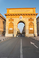 The Arc de Triomphe monument. Cafe. Montpellier. Languedoc. France. Europe.