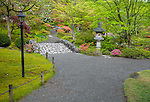 Seattle, WA: Gravel pathway in the Japanese Garden in Washington Park Arboretum