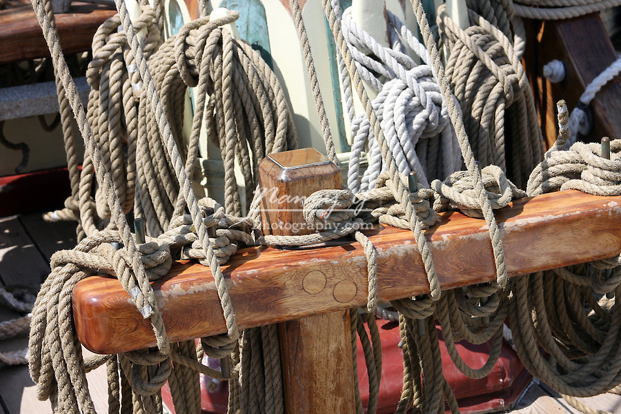 The rope rigging of the Pride of Baltimore ship at the Maritime Festiville in Port Washington Wisconsin