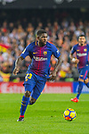 Samuel Umtiti of FC Barcelona runs with the ball during the La Liga 2017-18 match between Valencia CF and FC Barcelona at Estadio de Mestalla on November 26 2017 in Valencia, Spain. Photo by Maria Jose Segovia Carmona / Power Sport Images