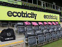 Away dugout at Forest Green Rovers with the subs vests already in place for MK Dons during Forest Green Rovers vs MK Dons, Caraboa Cup Football at The New Lawn on 8th August 2017