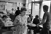 Lunchtime in the Railway Cafe, Pancras Road, London 1990.