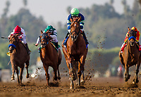 ARCADIA, CA - DECEMBER 26: Giant Expectation #3 with Gary Stevens aboard wins the San Antonio GII Stakes at Santa Anita Park on December 26, 2017 in Arcadia, California. (Photo by Alex Evers/Eclipse Sportswire/Getty Images)