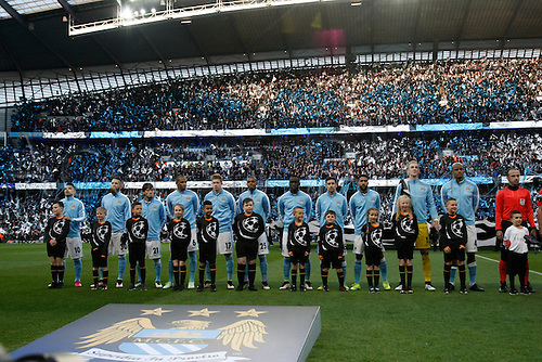 26.04.2016. The Etihad, Manchester, England. UEFA Champions League. Manchester City versus Real Madrid. Manchester City line up before the kick off.