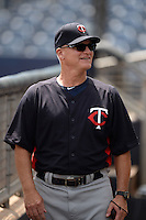 Minnesota Twins coach Joel Lepel (86) during an Instructional League game against the Tampa Bay Rays on September 16, 2014 at Charlotte Sports Park in Port Charlotte, Florida.  (Mike Janes/Four Seam Images)