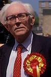 "Michael Foot former Labour Prime minister General Election meeting Birmingham 1982 slogan ""GET BRUM BACK TO WORK"" 1980s"
