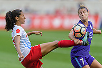Bridgeview, IL - Saturday July 22, 2017: Christen Press, Steph Catley during a regular season National Women's Soccer League (NWSL) match between the Chicago Red Stars and the Orlando Pride at Toyota Park. The Red Stars won 2-1.