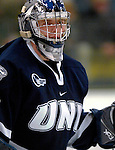 5 January 2007: University of New Hampshire goaltender Kevin Regan (32) from South Boston, MA,  in action against the University of Vermont Catamounts at Gutterson Fieldhouse in Burlington, Vermont. The UNH Wildcats defeated Vermont 7-1 in front of a record setting 48th consecutive sellout at &quot;the Gut&quot;...Mandatory Photo Credit: Ed Wolfstein Photo.<br />