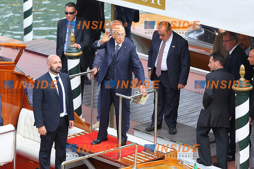 Venice, Italy - August 28:   Italian President Giorgio Napolitano arrives at Darsena of Excelsior Hotel, during the 71st Venice Film Festival on August 28, 2014 in Venice, Italy. (Photo by Mark Cape/Inside)<br /> Venezia, Italy - Agosto 28: Italian President Giorgio Napolitano presente alla Darsena dell' Hotel Excelsior, durante del 71st Venice Film Festival. Agosto 28, 2014 Venezia, Italia. (Photo by Mark Cape/Inside Foto)