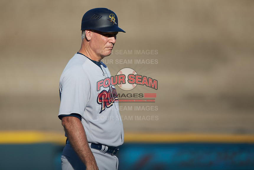 Scranton/Wilkes-Barre RailRiders bullpen coach Doug Davis (15) coaches third base during the game against the Gwinnett Stripers at BB&T BallPark on August 17, 2019 in Lawrenceville, Georgia. The Stripers defeated the RailRiders 8-7 in eleven innings. (Brian Westerholt/Four Seam Images)
