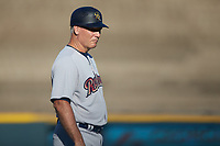 Scranton/Wilkes-Barre RailRiders bullpen coach Doug Davis (15) coaches third base during the game against the Gwinnett Stripers at Coolray Field on August 17, 2019 in Lawrenceville, Georgia. The Stripers defeated the RailRiders 8-7 in eleven innings. (Brian Westerholt/Four Seam Images)