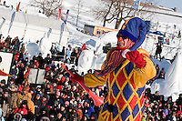 Quebec City - February 16, 2008. A Knuk, one of Bonhomme Carnaval's friend, gestures during the annual Snow Bath, an highlight of the Quebec Winter Carnival. The temperature was -15 during the event.