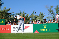 Tommy Fleetwood (ENG) on the 14th tee during the 2nd round of the Abu Dhabi HSBC Championship, Abu Dhabi Golf Club, Abu Dhabi,  United Arab Emirates. 17/01/2020<br /> Picture: Fran Caffrey   Golffile<br /> <br /> <br /> All photo usage must carry mandatory copyright credit (© Golffile   Fran Caffrey)