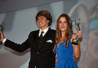 "France, Paris, 03.06.2014. Tennis, French Open, Roland Garros, ITF Champions diner, World Champion junior boys tennis Alexander Zverev (GER) and girls Belinda Benic (SUI) receive their trophy""s<br /> Photo:Tennisimages/Henk Koster"
