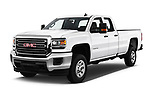 2017 GMC Sierra 3500HD Double 4WD Cab Long Box 4 Door Pick Up angular front stock photos of front three quarter view