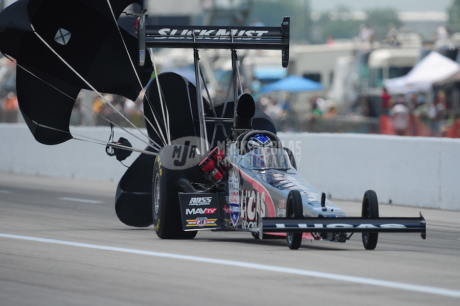Apr. 28, 2012; Baytown, TX, USA: NHRA top fuel dragster driver Bruce Litton during qualifying for the Spring Nationals at Royal Purple Raceway. Mandatory Credit: Mark J. Rebilas-