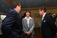 4 April 2008: (L-R) LSU Tigers head coach Van Chancellor, Stanford Cardinal head coach Tara VanDerveer, and Connecticut Huskies head coach Geno Auriemma during Stanford's 2008 NCAA Division I Women's Basketball Final Four salute dinner at the Tampa Convention Center in Tampa Bay, FL.