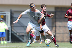 31 August 2014: Loyola-Marymount's Dylan Seedman (7) and Elon's Jonathan Coleby (ENG) (2). The Elon University Phoenix played the Loyola Marymount University Lions at Koskinen Stadium in Durham, North Carolina in a 2014 NCAA Division I Men's Soccer match. Elon won the game 1-0.
