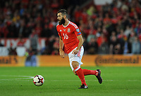 Wales'  Joe Ledley in action during tonights game<br /> <br /> Photographer Ian Cook/CameraSport<br /> <br /> FIFA World Cup Qualifying - European Region - Group D - Wales v Republic of Ireland - Monday 9th October 2017 - Cardiff City Stadium - Cardiff<br /> <br /> World Copyright &copy; 2017 CameraSport. All rights reserved. 43 Linden Ave. Countesthorpe. Leicester. England. LE8 5PG - Tel: +44 (0) 116 277 4147 - admin@camerasport.com - www.camerasport.com