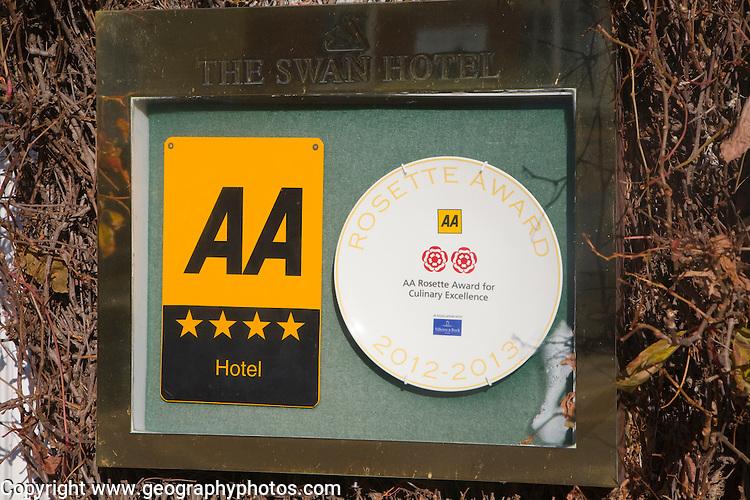 Close up four star hotel award sign Swan Hotel, Southwold, Suffolk, England