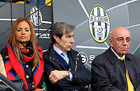 "Calcio, Serie A: Siena-Milan. Siena, stadio ""Artemio Franchi"" , 29 aprile 2012..Football, Italian serie A: Siena vs AC Milan. Siena's ""Artemio Franchi"" stadium, 29 april 2012..AC MIlan CEO Adriano Galliani, right, sits on the stand with his fiancee Helga Costa, left, and club's sporting director Ariedo Braida..UPDATE IMAGES PRESS/Riccardo De Luca"