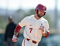NWA Democrat-Gazette/CHARLIE KAIJO Arkansas Razorbacks infielder Jack Kenley (7) rounds third after hitting a homerun during a baseball game, Sunday, March 17, 2019 at Baum-Walker Stadium in Fayetteville.