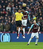 West Ham United's Angelo Ogbonna and Watford's Troy Deeney<br /> <br /> Photographer Rob Newell/CameraSport<br /> <br /> The Premier League - West Ham United v Watford - Saturday 10th February 2018 - London Stadium - London<br /> <br /> World Copyright &copy; 2018 CameraSport. All rights reserved. 43 Linden Ave. Countesthorpe. Leicester. England. LE8 5PG - Tel: +44 (0) 116 277 4147 - admin@camerasport.com - www.camerasport.com