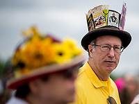 BALTIMORE, MD - MAY 20: A man with a hat adorned with Preakness Day tickets from previous years looks on from the apron of the grandstand on Preakness Stakes Day at Pimlico Race Course on May 20, 2017 in Baltimore, Maryland.(Photo by Scott Serio/Eclipse Sportswire/Getty Images)