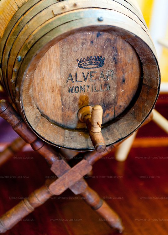 An antique wooden serving barrel, a decoration in the tasting room seating area at General's Ridge Vineyard and Winery.