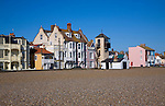 Seaside buildings along the front, Aldeburgh, Suffolk, England. Disused lifeboat station building.