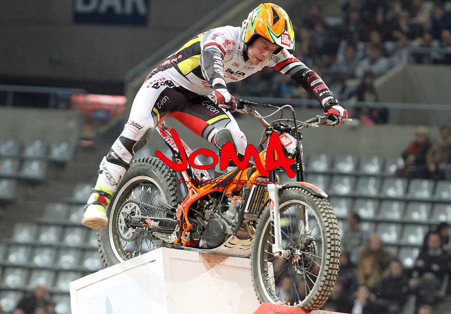 10.02.2013. Barcelona, Spain. FIM X Trial World Championship. Picture show Jack Challoner riding Beta in action during GP of Catalunya at Palau St. Jordi