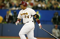 March 8, 2009:  First baseman Miguel Cabrera (24) of Venezuela during the first round of the World Baseball Classic at the Rogers Centre in Toronto, Ontario, Canada.  Venezuela lost to Team USA 15-6 in both teams second game of the tournament.  Photo by:  Mike Janes/Four Seam Images