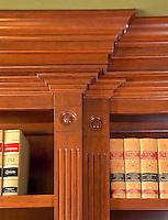 Custom wooden shelves and molding.