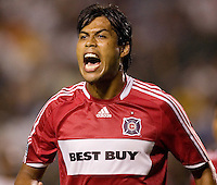 Chicago Fire defender Wilman Conde (22) screams out at assistant ref during a MLS match. The Chicago Fire defeated the LA Galaxy 1-0 at Home Depot Center stadium in Carson, California on Thursday, August 21, 2008.