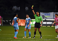 Kansas City, MO - Friday May 13, 2016: Chicago Red Stars defender Samantha Johnson (16) receives a yellow card against FC Kansas City during a regular season National Women's Soccer League (NWSL) match at Swope Soccer Village. The match ended 0-0.