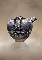 Minoan Kamares Ware spouted jar with 2 handles with  polychrome decorations, Phaistos Palace 1800-1600 BC; Heraklion Archaeological  Museum.<br /> <br /> This style of pottery is named afetr Kamares cave where this style of pottery was first found