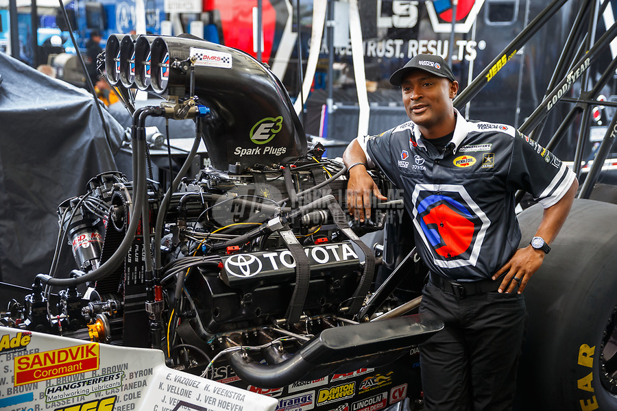 May 5, 2017; Commerce, GA, USA; NHRA top fuel driver Antron Brown in the pits during qualifying for the Southern Nationals at Atlanta Dragway. Mandatory Credit: Mark J. Rebilas-USA TODAY Sports
