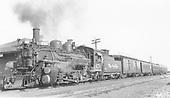 D&amp;RGW #470 with last Santa Fe Branch &quot;Chili Line&quot; train at Antonito depot.<br /> D&amp;RGW  Antonito, CO  8/30/1941