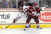 Doug Kublin (UMass - 18), Matt Lombardi (BC - 24) - The Boston College Eagles defeated the University of Massachusetts-Amherst Minutemen 6-5 on Friday, March 12, 2010, in the opening game of their Hockey East Quarterfinal matchup at Conte Forum in Chestnut Hill, Massachusetts.